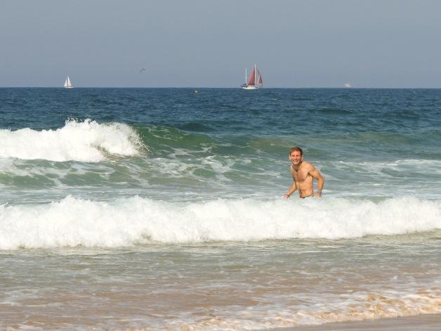 Justin's First Ocean Swim
